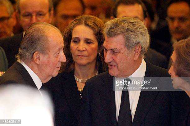 King Juan Carlos of Spain Princess Elena of Spain and Jesus Posada attend the funeral chapel for Adolfo Suarez the prime minister who led Spain to...