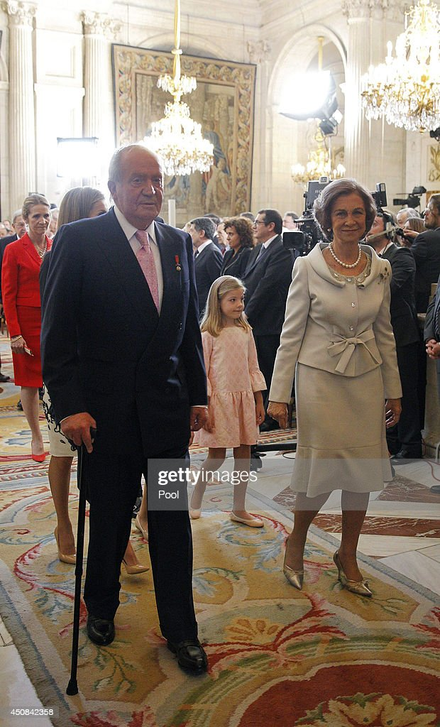King Juan Carlos of Spain, Queen Sofia of Spain and Princess Sofia of Spain attend the official abdication ceremony at the Royal Palace on June 18, 2014 in Madrid, Spain. King Juan Carlos of Spain's abdication takes effect at midnight local time.