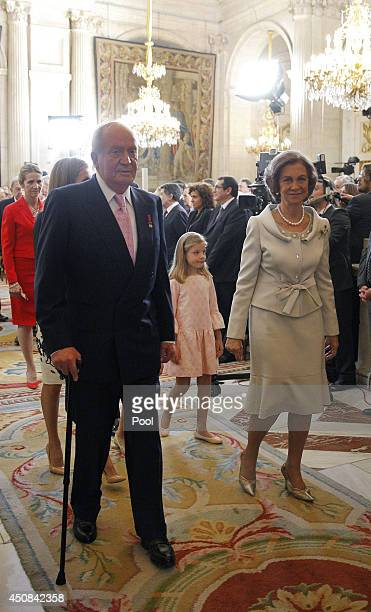 King Juan Carlos of Spain Queen Sofia of Spain and Princess Sofia of Spain attend the official abdication ceremony at the Royal Palace on June 18...