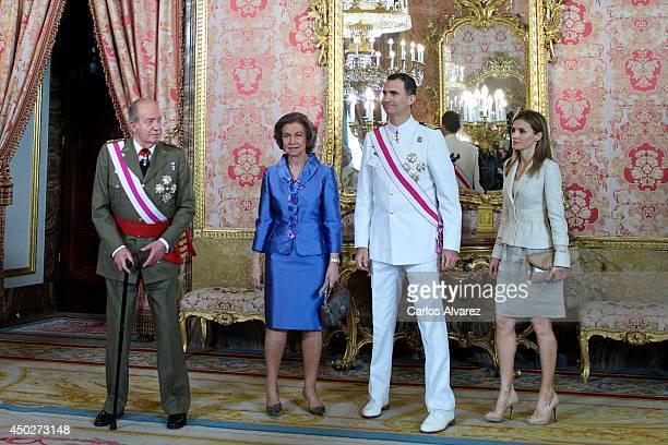 King Juan Carlos of Spain Queen Sofia of Spain Prince Felipe of Spain and Princess Letizia of Spain attend the Spain's National Armed Forces Day...