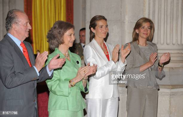 King Juan Carlos of Spain Queen Sofia of Spain Princess Elena of Spain and Princess Cristina of Spain attend the National Sports Awards ceremony held...