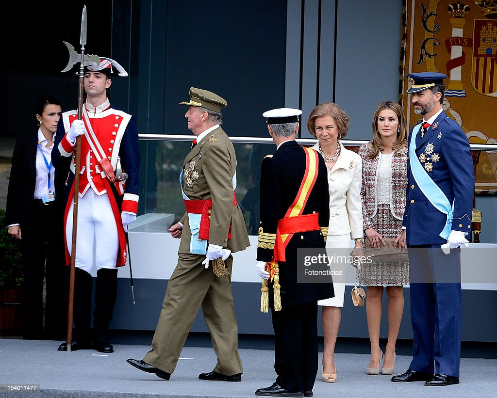 King Juan Carlos of Spain, Queen Sofia of Spain, Princess Letizia of Spain and Prince Felipe of Spain attend the National Day Military Parade on October 12, 2012 in Madrid, Spain.
