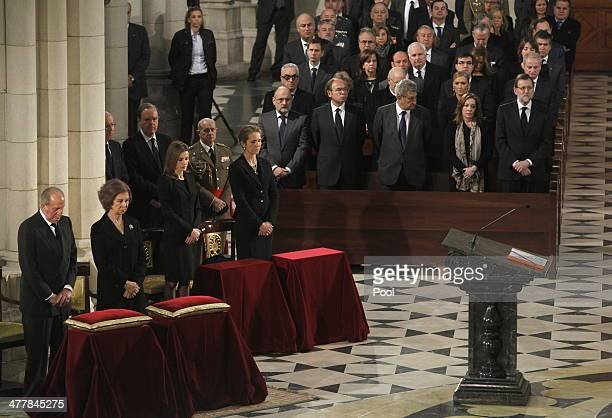 King Juan Carlos of Spain Queen Sofia of Spain Princess Letizia of Spain and Princess Elena of Spain bow their heads during the 10th Anniversary...