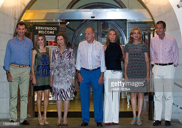 King Juan Carlos of Spain Queen Sofia Prince Felipe his wife Letizia Princess Cristina her husband Inaki Urdangarin and Princess Elena pose as they...