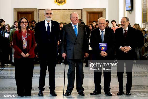 King Juan Carlos of Spain Rebeca Grynspan Javier Solana and Enrique Iglesias attend during a Book Presentation at Comillas University on January 29...