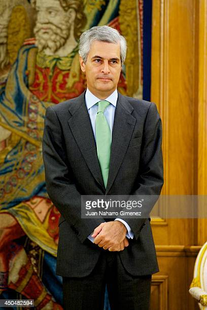 King Juan Carlos of Spain receives Adolfo Suarez Illana to return the necklace Illustrious Order of the Toison de Oro at Zarzuela Palace on June 12...