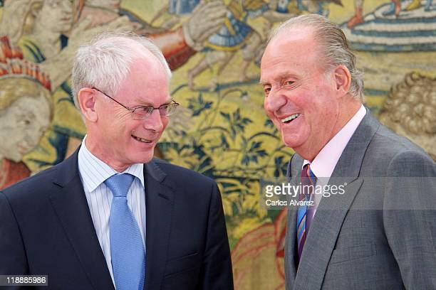 King Juan Carlos of Spain receives European Union Council President Herman Van Rompuy at Zarzuela Palace on July 12 2011 in Madrid Spain