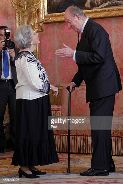 """King Juan Carlos of Spain receives Mexican author Elena Poniatowska for a lunch in ocassion of the """"2013 Cervantes Award"""" at the Royal Palace on..."""