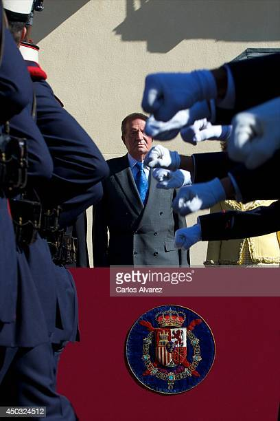 King Juan Carlos of Spain receives Mexican President Enrique Pena Nieto at El Pardo Palace on June 9 2014 in Madrid Spain