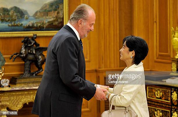 King Juan Carlos of Spain receives Philippines President Gloria Macapagal Arroyo at the Zarzuela Palace on April 15, 2010 in Madrid, Spain.