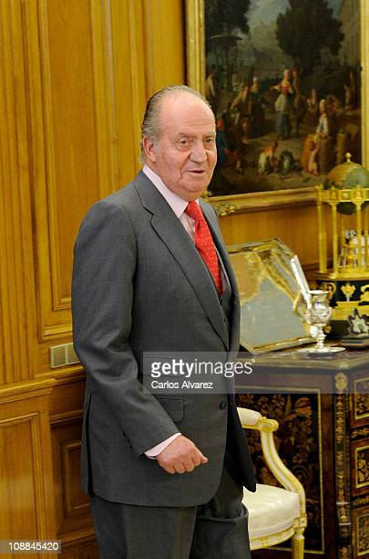 King Juan Carlos of Spain receives Placido Domingo and wife Marta Ornellas at Zarzuela Palace on January 19 2011 in Madrid Spain