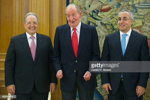 King Juan Carlos of Spain receives President of ISSF Olegario Vazquez Rana and President of the Spanish Olympic Committee Alejandro Blanco Bravo at...