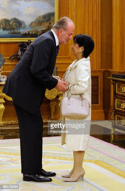 King Juan Carlos of Spain receives President of Philippines Gloria Macapagal Arroyo at Zarzuela Palace on April 15, 2010 in Madrid, Spain.