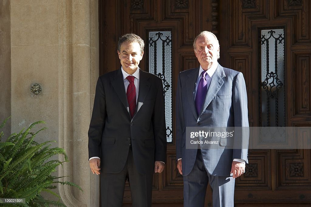 King Juan Carlos of Spain (R) receives Spanish President Jose Luis Rodriguez Zapatero (L) at Marivent Palace on August 1, 2011 in Palma de Mallorca, Spain.