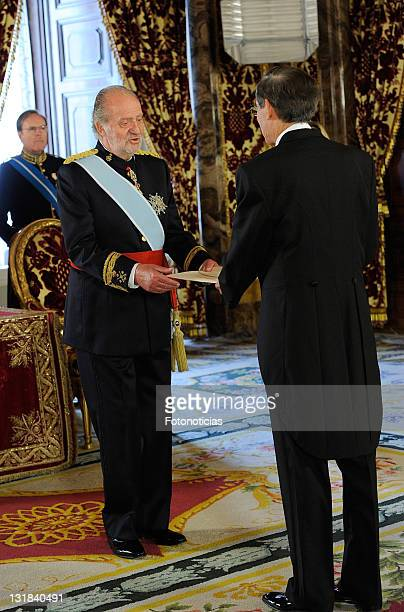 King Juan Carlos of Spain receives the new ambassador of The Philippines in Spain, Carlos Salinas, at The Royal Palace on May 17, 2011 in Madrid,...