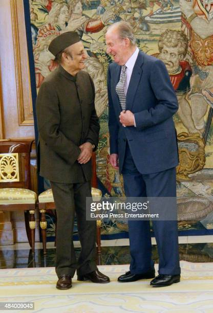 King Juan Carlos of Spain receives the President of the Indian Council for Cultural Relations , Karan Singh, at Zarzuela Palace on April 10, 2014 in...