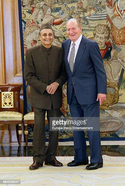 King Juan Carlos of Spain receives the President of the Indian Council for Cultural Relations Karan Singh at Zarzuela Palace on April 10 2014 in...
