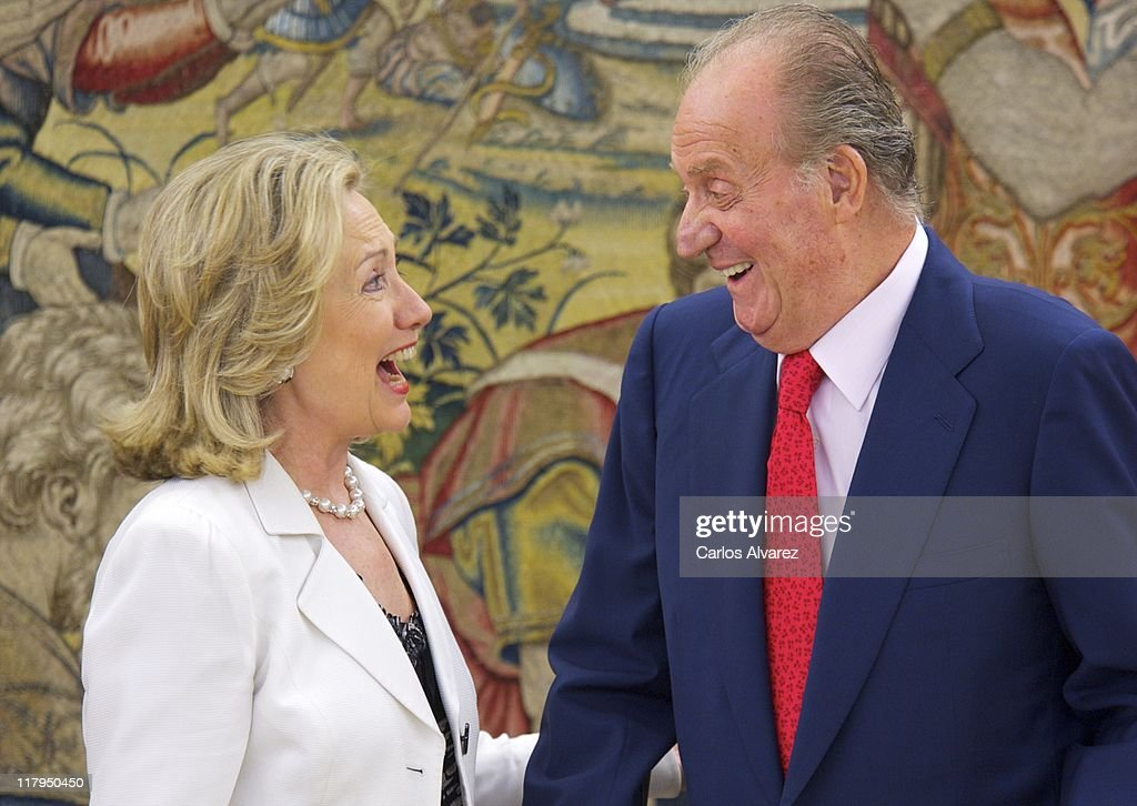 King Juan Carlos of Spain receives U.S. Secretary of State Hillary Clinton at Zarzuela Palace on July 2, 2011 in Madrid, Spain. Clinton is on official two-day trip to Madrid.