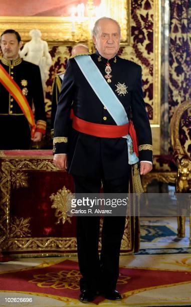 King Juan Carlos of Spain recieves new ambassadors in Madrid at Royal Palace on July 5 2010 in Madrid Spain