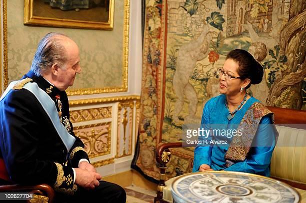 King Juan Carlos of Spain recieves new Indonesia ambassador Adiyatwidi Adiwoso at the Royal Palace on July 5 2010 in Madrid Spain