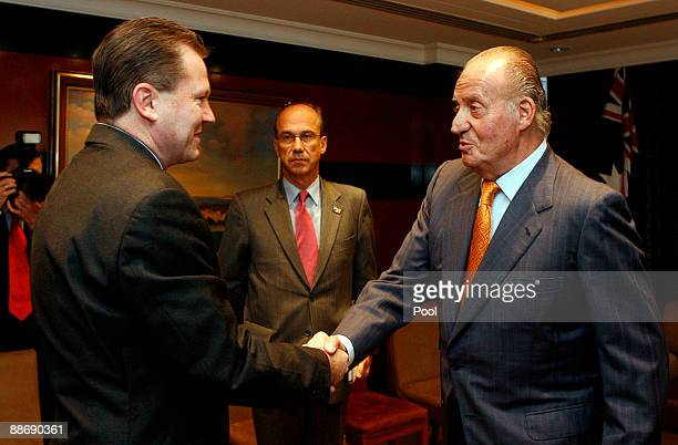 King Juan Carlos of Spain shakes hands with New South Wales Premier Nathan Rees June 26 2009 in Sydney Australia The Royal couple met with the Prime...