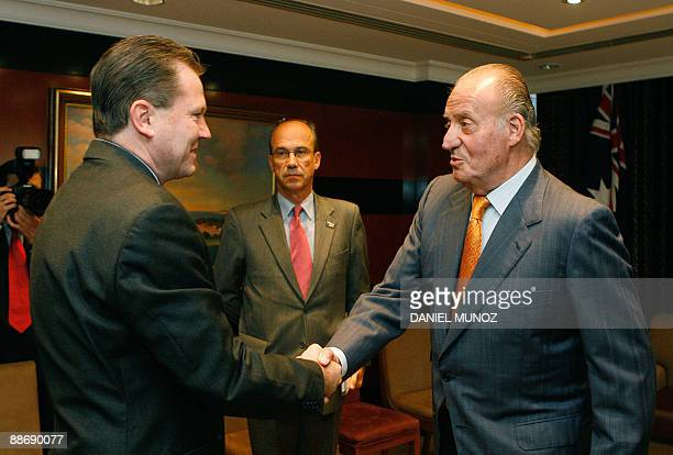 King Juan Carlos of Spain shakes hands with to New South Wales Premier Nathan Rees in Sydney on June 26 2009 King Carlos is on the last day of a...