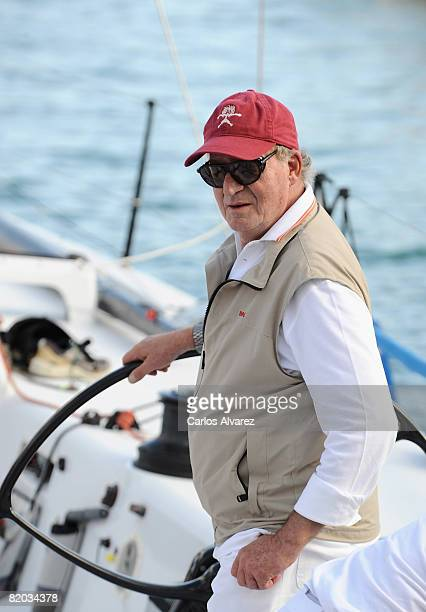 King Juan Carlos of Spain stands on board teh yacht 'Bribon' during the first day of The 14th Breitling Sailing Cup on July 22 2008 in Palma de...