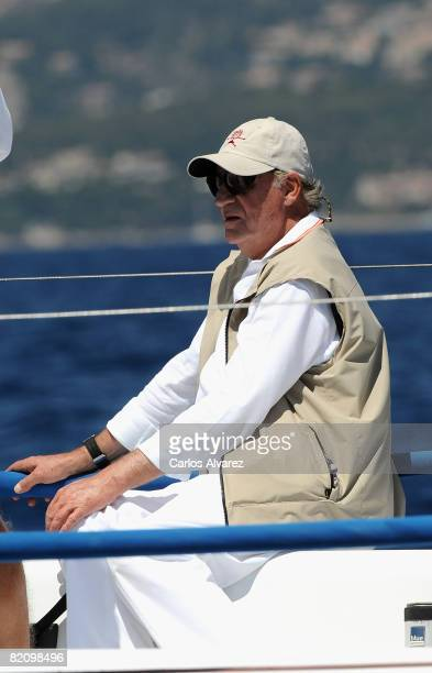 King Juan Carlos of Spain stands on board the yacht 'Bribon' during the second day of The 27th Copa del Rey Mapfre Audi Sailing Cup on July 29 2008...