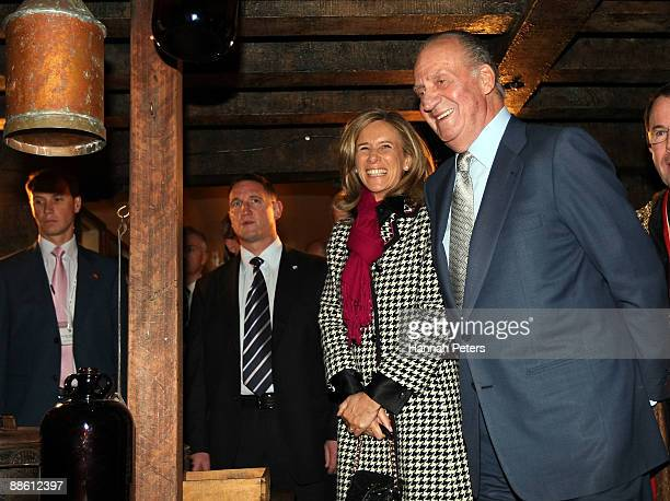 King Juan Carlos of Spain with Spanish Minister of Science and Technology Christina Garmendia while visiting the Maritime Museum on June 22 2009 in...