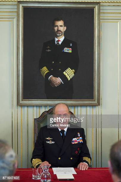 King Juan Carlos presides over the annual meeting of the Naval Museum on November 8 2017 in Madrid Spain