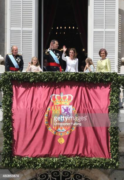 King Juan Carlos Princess Leonor Princess of Asturias King Felipe VI of Spain Queen Letizia of Spain Princess Sofia and Queen Sofia appear at the...