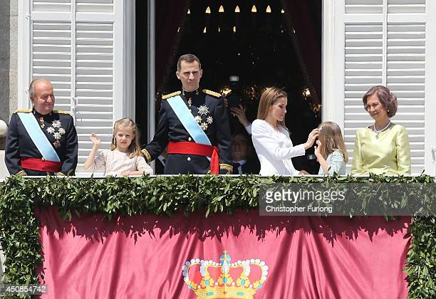 King Juan Carlos Princess Leonor Princess of Asturias King Felipe VI of Spain Queen Letizia of Spain Princess Sofia and Queen Sofia appear at the...