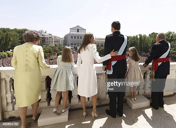 King Juan Carlos Princess Leonor Princess of Asturias King Felipe VI of Spain Queen Letizia of Spain Princess Sofia and Queen Sofia greet crowds of...