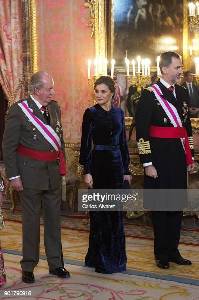 King Juan Carlos Queen Letizia of Spain and King Felipe VI of Spain attend the Pascua Militar ceremony at the Royal Palace on January 6 2018 in...