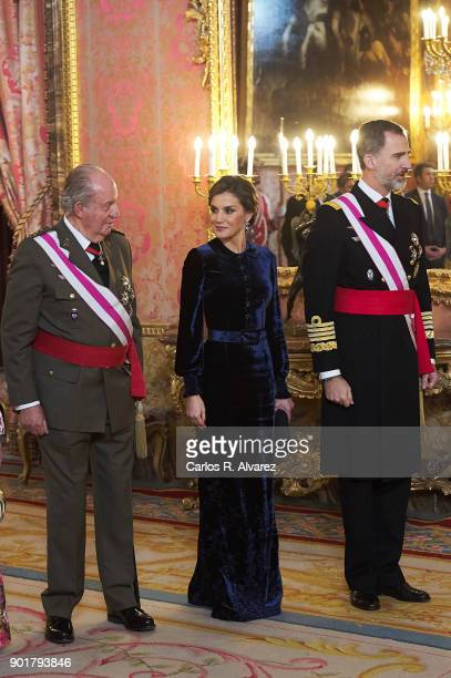 King Juan Carlos, Queen Letizia of Spain and King Felipe VI of Spain attend the Pascua Militar ceremony at the Royal Palace on January 6, 2018 in...