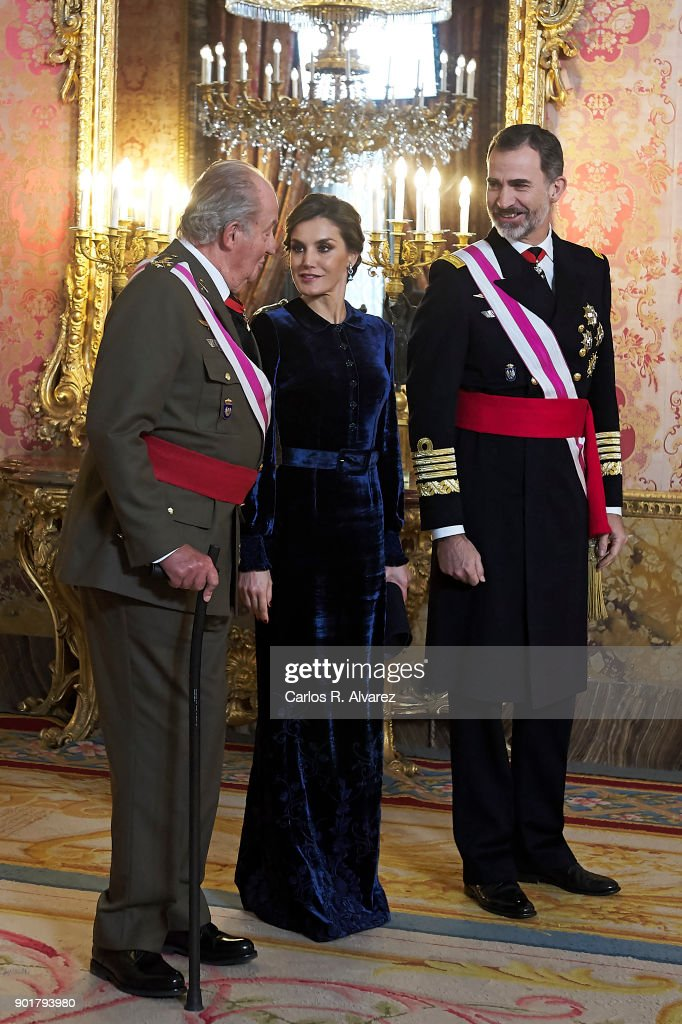 King Juan Carlos, Queen Letizia of Spain and King Felipe VI of Spain attend the Pascua Militar ceremony at the Royal Palace on January 6, 2018 in Madrid, Spain.