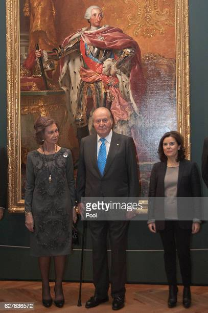 King Juan Carlos Queen Sofia and Soraya Saenz de Santamatia attend 'Carlos III' exhibition at the Royal Palace on December 5 2016 in Madrid Spain