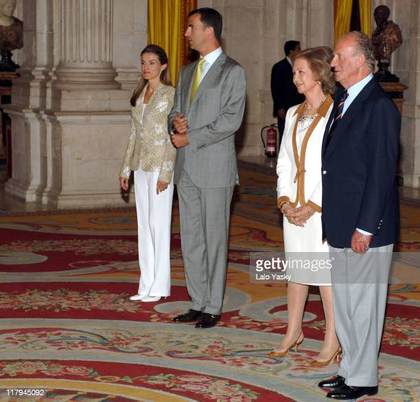 King Juan Carlos Queen Sofia Crown Prince Felipe and Crown Princess Letizia Receive Basketball 2006 World Champions at the Royal Palace in Madrid