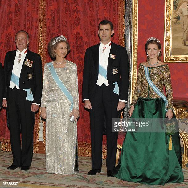 King Juan Carlos Queen Sofia Crown Prince Felipe and Princess Letizia of Spain attend an official dinner in honour of Russian President Vladimir...