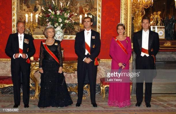 King Juan Carlos Queen Sofia Crown Prince Felipe of Spain and Princess Cristina with husband Inaki Urdangarin