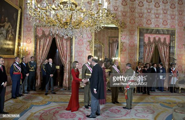 King Juan Carlos, Queen Sofia of Spain, Crown Prince Felipe and Crown Princess Letizia attend the annual 'Pascua Militar' day at the Palacio Real on...
