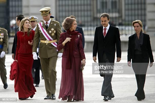 King Juan Carlos, Queen Sofia of Spain, Crown Prince Felipe and Crown Princess Letizia, Jose Luis Rodriguez Zapatero, Spanish Prime Minister attend...