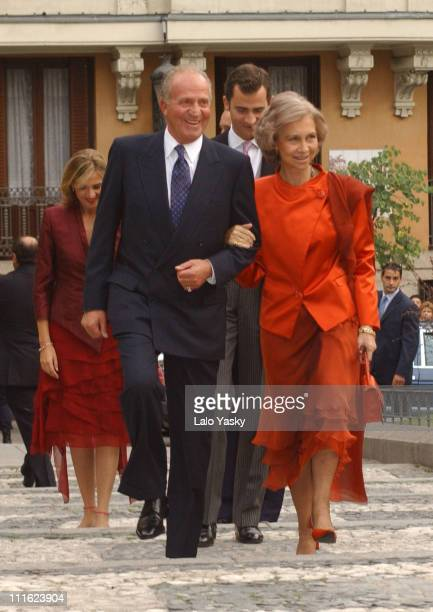 King Juan Carlos Queen Sofia of Spain during Spanish Royal Family Member Bruno Gomez Acebo and Barbara Cano Wed in Madrid Spain