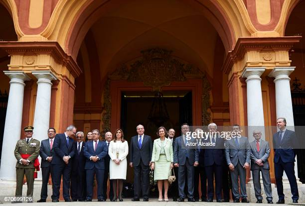 King Juan Carlos Queen Sofia President od Andalusia Susana Diaz Mayor of Seville Juan Espadas and former President of Spain Felipe Gonzalez attends...