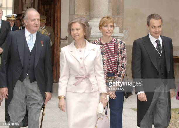 King Juan Carlos Queen Sofia Prime Minister Rodriguez Zapatero and his wife Sonsoles Espinosa at the Alcala de Henares University April 21 ahead of...