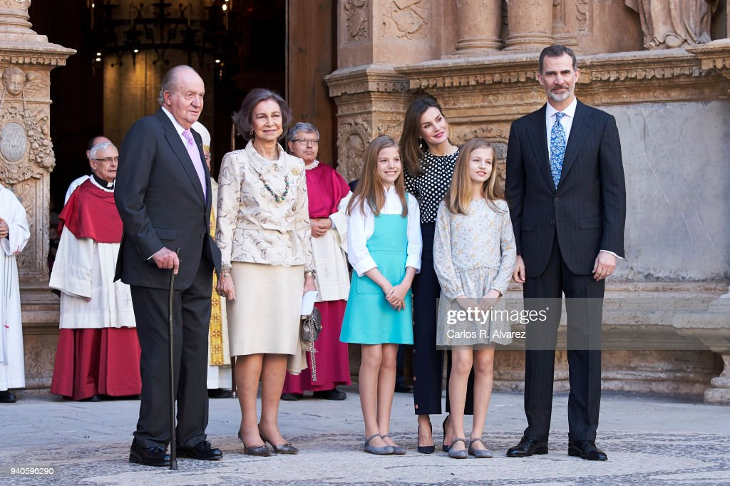 King Juan Carlos, Queen Sofia, Princess Sofia of Spain, Queen Letizia of Spain, Princess Leonor of Spain and King Felipe VI of Spain attend the Easter mass on April 1, 2018 in Palma de Mallorca, Spain.