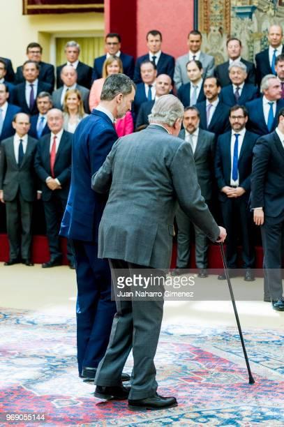 King Juan Carlos receive COTEC Foundation members at Palacio Real De El Pardo on June 7 2018 in Madrid Spain
