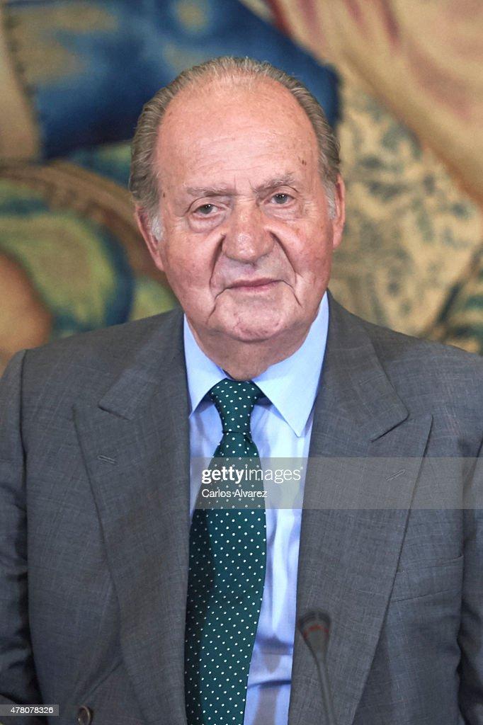 King Juan Carlos receives COTEC Foundation members at the Zarzuela Palace on June 22, 2015 in Madrid, Spain.