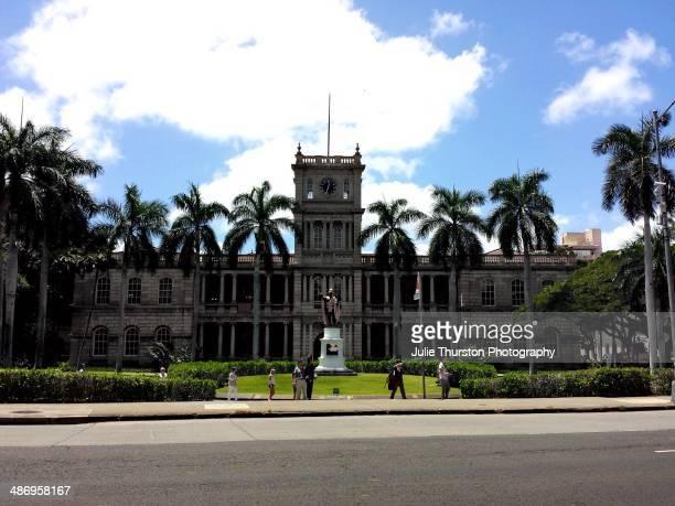 King Kamehameha Statue in Front of the Hawaii State Supreme Court Building Ali'iolani Hale in Honolulu Oahu Hawaii