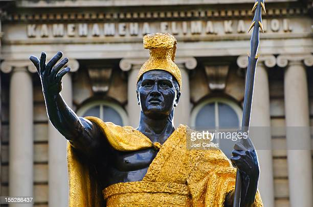 king kamehameha statue in honolulu hawaii - category:census-designated_places_in_honolulu_county,_hawaii stock pictures, royalty-free photos & images